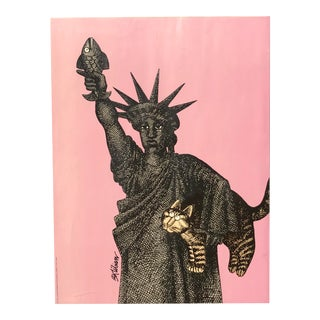 Statue of Liberty With Fish and Cat (B. Kliban) Lucite Box Framed For Sale