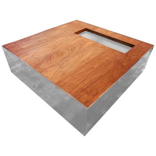 """Square Chrome and Walnut Coffee Table by Reza Feiz for Phase Design """"Ballot Box"""" For Sale"""