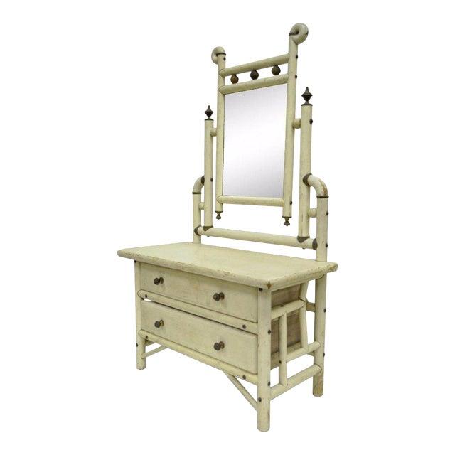 "30"" H Antique Arts & Crafts Salesman Sample Bentwood Painted Dresser & Mirror For Sale"