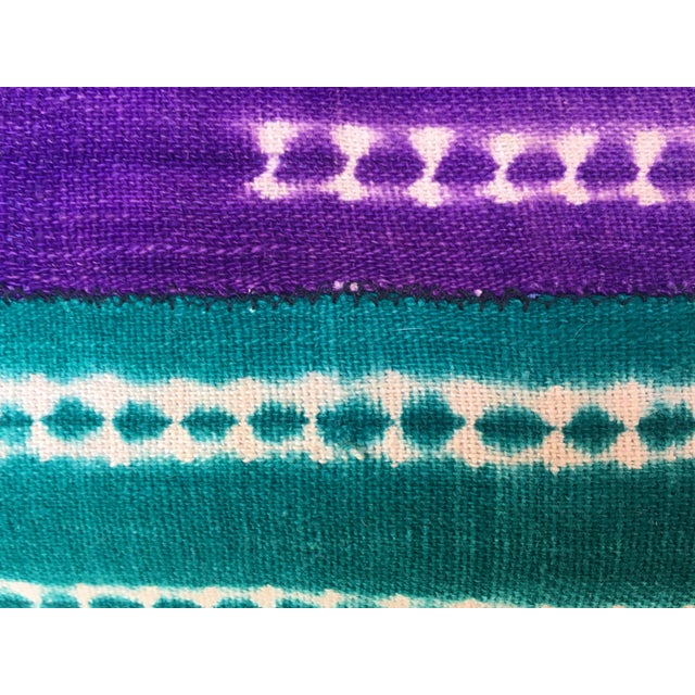 Purle and Teal African Mud Cloth Pillow - Image 5 of 8
