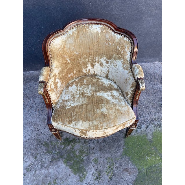 19th . C French Bronze Mounted Barrel Chair. New Upholstery