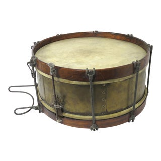 Antique Brass & Rosewood Parade Marching Snare Drum For Sale