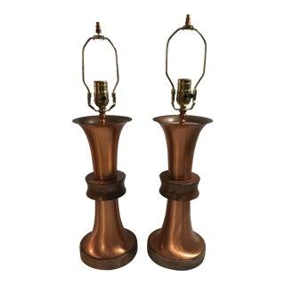Art Deco Copper Table Lamps - a Pair For Sale