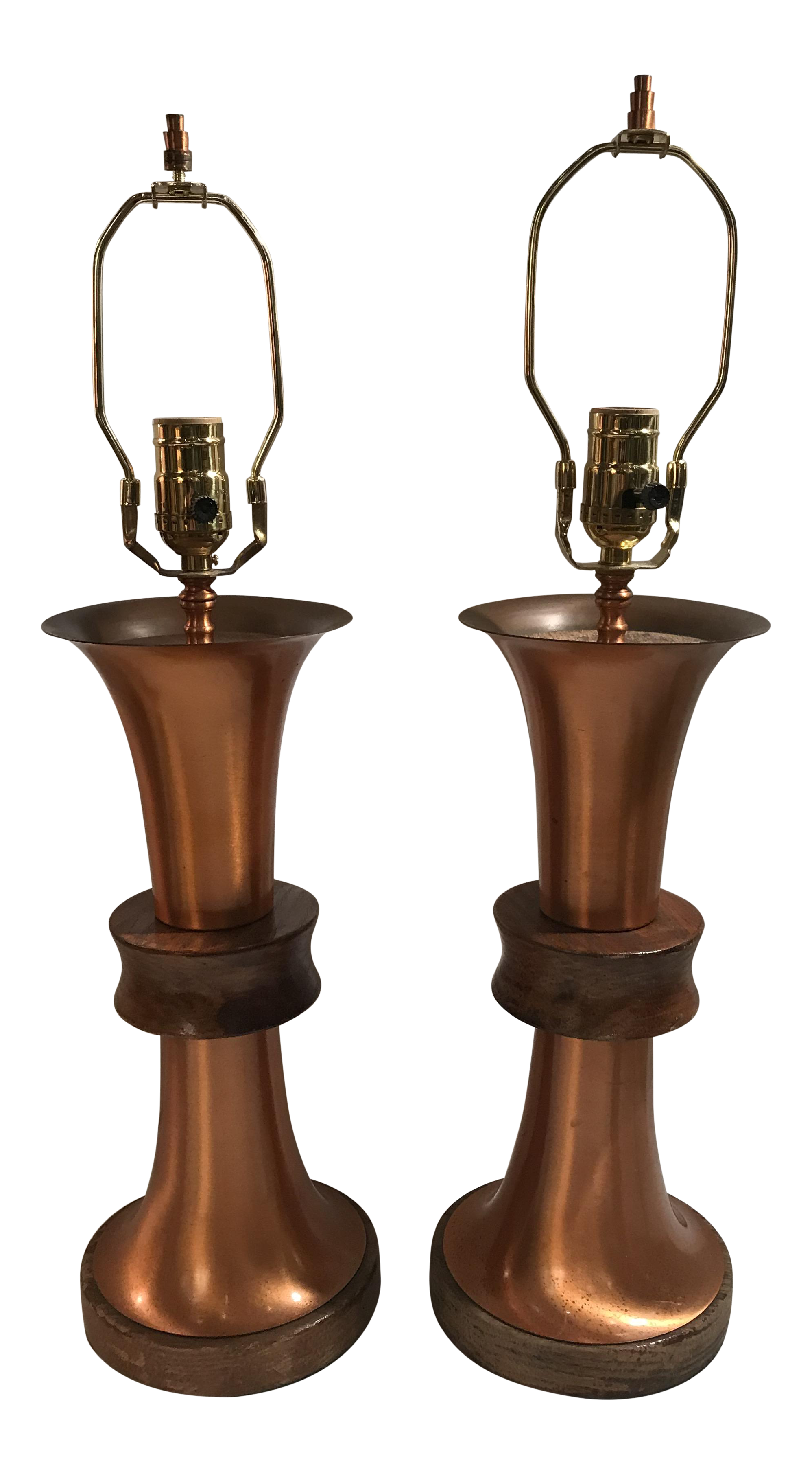 Art Deco Copper Table Lamps   A Pair