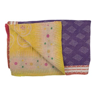 1970s Vintage Yellow & Purple Kantha Quilt Blanket For Sale