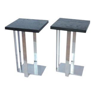 Modern American Chrome & Ebonized Wood Side Tables - A Pair For Sale