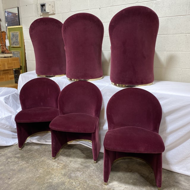 Contemporary Velvet & Brass Dining Chairs - Set/6 For Sale - Image 12 of 12
