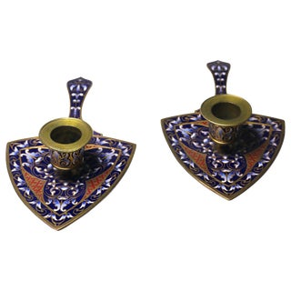 Pair of Antique French Bronze and Champleve Enamel Candlesticks For Sale
