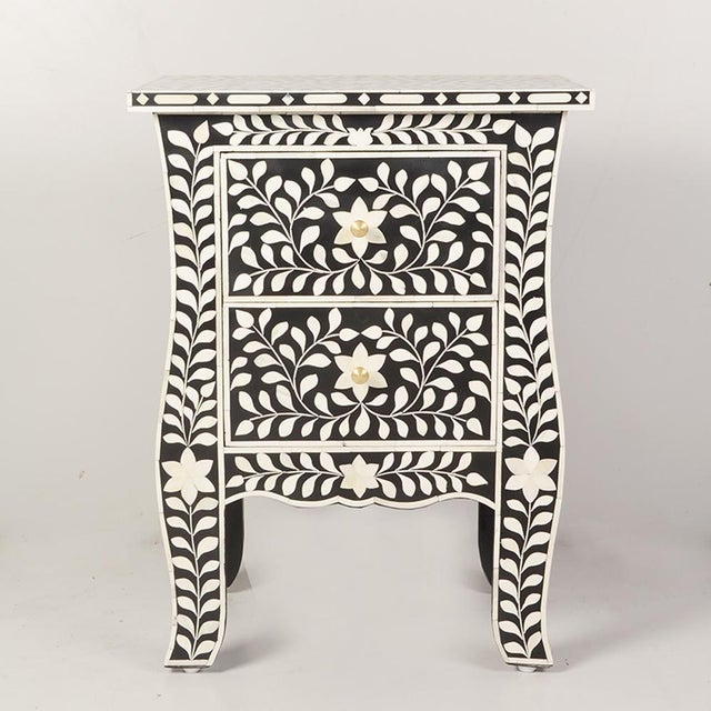 Imperial Beauty 2 Drawer Bedside Table in Black/White For Sale In Greensboro - Image 6 of 6