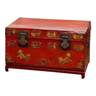 Chinese Red-Painted Leather Trunk on Later Painted Wood Stand For Sale