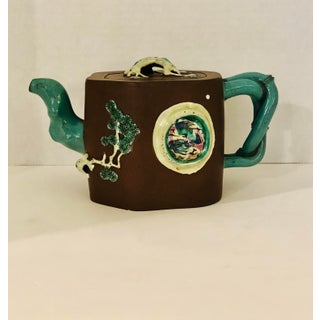 Antique Chinese Yixing Zisha Clay Tea Pot W/Ceramic Appliqué Prunus Tree Flowers & Branches Preview