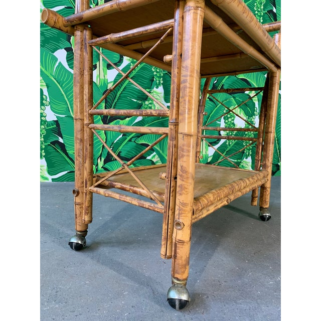 Collapsible Tiger Bamboo Bar Cart For Sale - Image 10 of 11