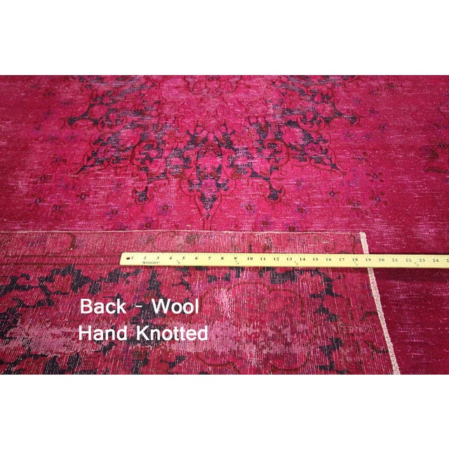 """Pink Overdyed Oriental Floral Rug - 9'6"""" x 14'10"""" - Image 7 of 10"""