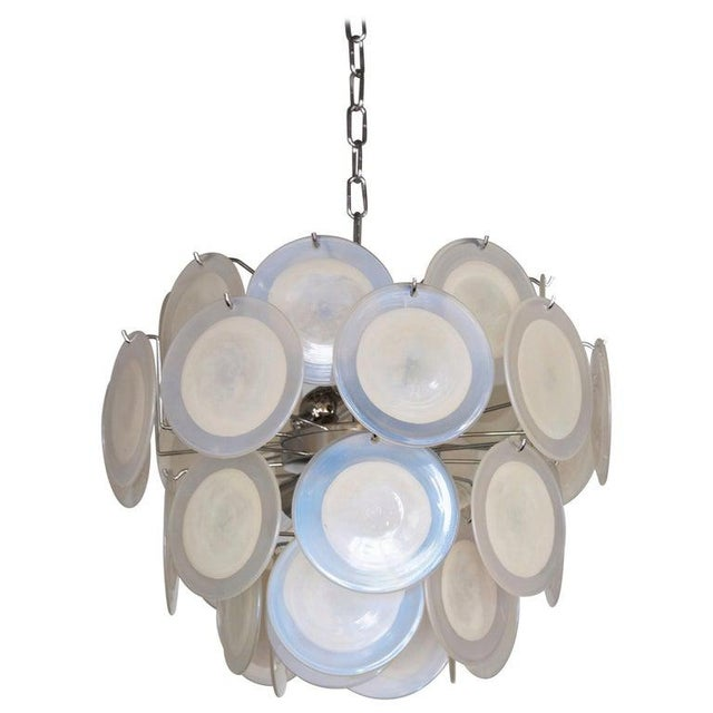White One of Two White Iridescent Murano Glass Disc Chandelier Attributed to Vistosi For Sale - Image 8 of 8