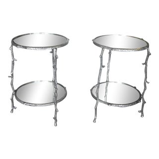 Vintage Pair of Round Aluminum & Mirror Tree Branch Accent Tables For Sale