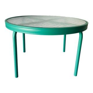 Brown Jordan Round Patio Side Table With Frosted Glasstto For Sale