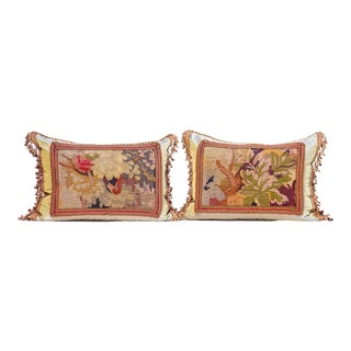 Pr. 19th C. French Aubusson Fragment Pillows For Sale