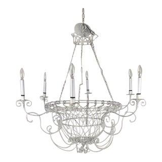 Farm House Large Wire Basket 6 Light Chandelier For Sale