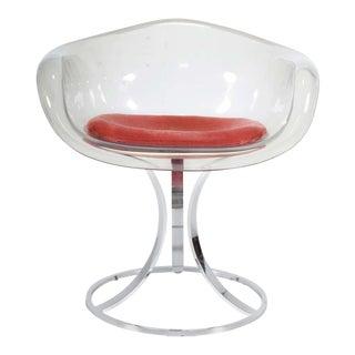Peter Hoyte Acrylic Tulip Chair on Chrome Base For Sale