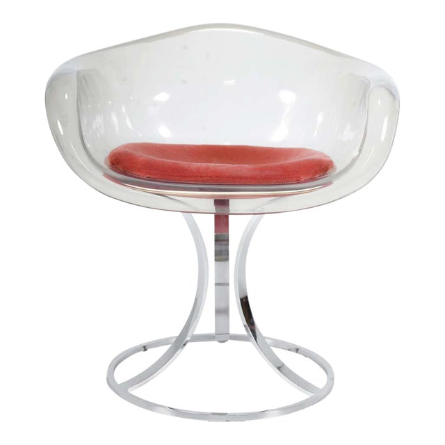 Peter Hoyte Acrylic Tulip Chair on Chrome Base For Sale
