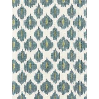 Sample, Scalamandre Amara Ikat Weave, Peacock Fabric For Sale