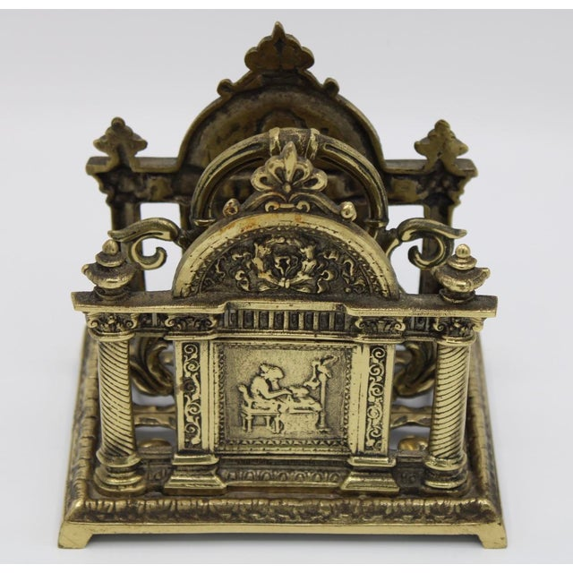 Renaissance Revival Double Brass Letter Rack With Carrying Handle For Sale - Image 10 of 12