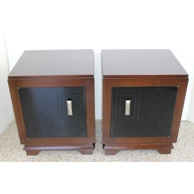 Metal 1930s French Art Deco Moderne Night Stands - a Pair For Sale - Image 7 of 13