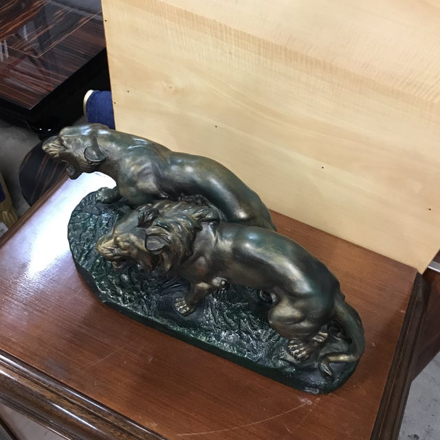 """1930s 1930s French Art Deco Terra Cotta """"Group of Panthers on Rock"""" Sculpture For Sale - Image 5 of 10"""