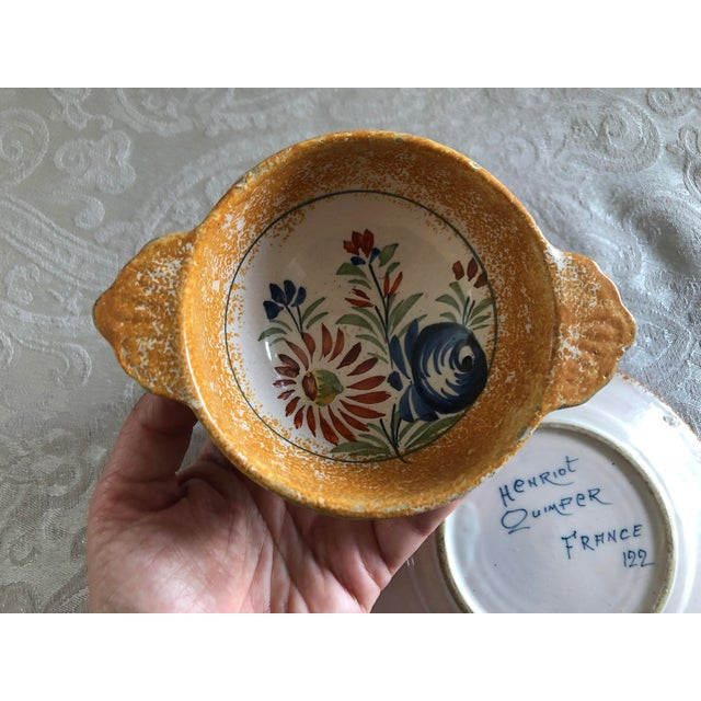 Henriot Quimper French Pottery Bowl & Plate Set For Sale - Image 9 of 13