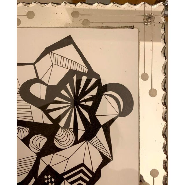 Abstract Original Ink Drawing in Vintage Mirrored Art Deco Style Frame For Sale - Image 4 of 5