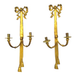 Vintage Wall Candle Sconces, Gold Ribbon Design - a Pair For Sale
