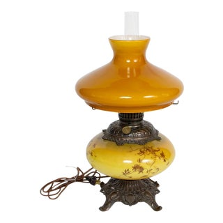 Yellow Amber Gone With the Wind Electrified Lamp For Sale