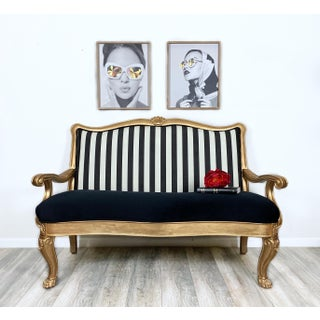 Vintage Striped Upholstery Clawfoot Settee Preview