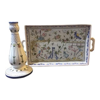 Hand-Painted Tray & Candlestick - A Pair For Sale