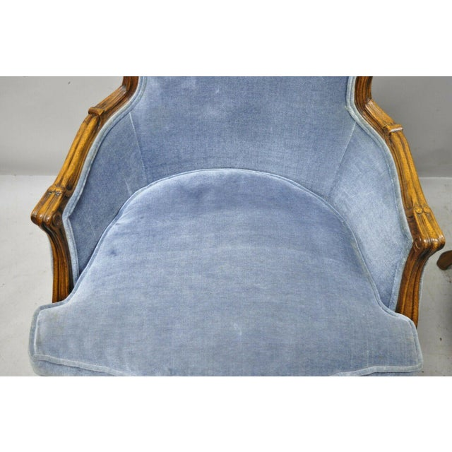Mid 20th Century Vintage French Louis XV Provincial Blue Bergere Lounge Arm Chairs - a Pair For Sale - Image 5 of 13