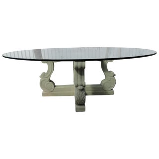 1980s Neoclassical Michael Taylor Four-Lyre Concrete Table Base For Sale