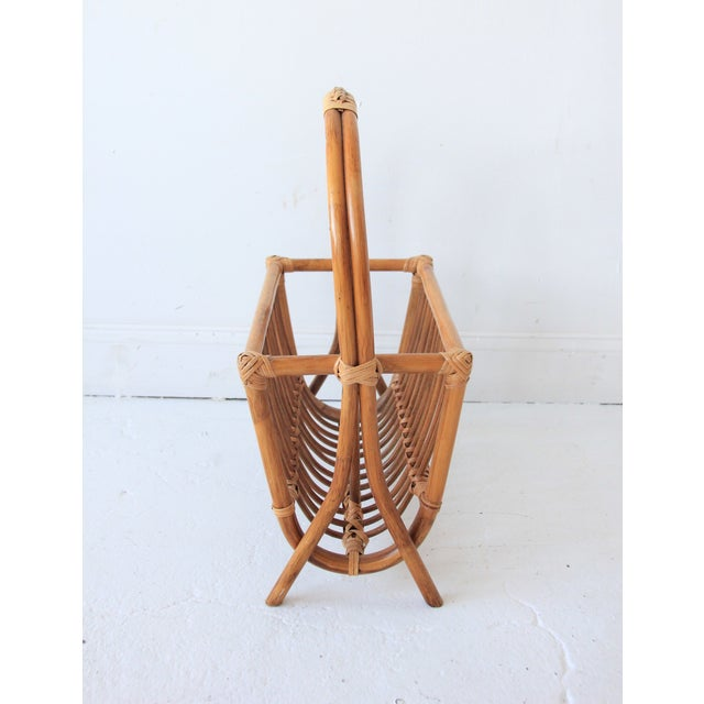 Boho Chic Vintage Bamboo & Rattan Magazine Rack For Sale - Image 3 of 4