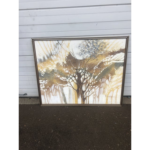 Paint Vintage Ferrante Oil Painting Abstract Textural of Tree, Large For Sale - Image 7 of 10