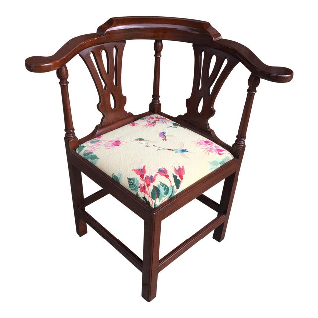 Georgian Style Needlepoint Upholstery Mahogany Corner Chair - Image 1 of 9