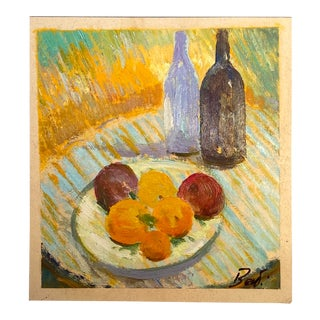 """Contemporary Italian """"Still Life Study With Wine and Fruit"""" Oil on Cardboard Painting by Alessandro Berti For Sale"""