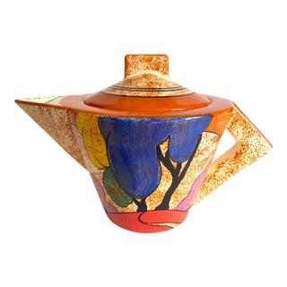 "Clarice Cliff Vintage 1993 Metropolitan Museum of Art "" Bizarre Autumn "" Art Deco Art Pottery Ceramic Teapot For Sale"