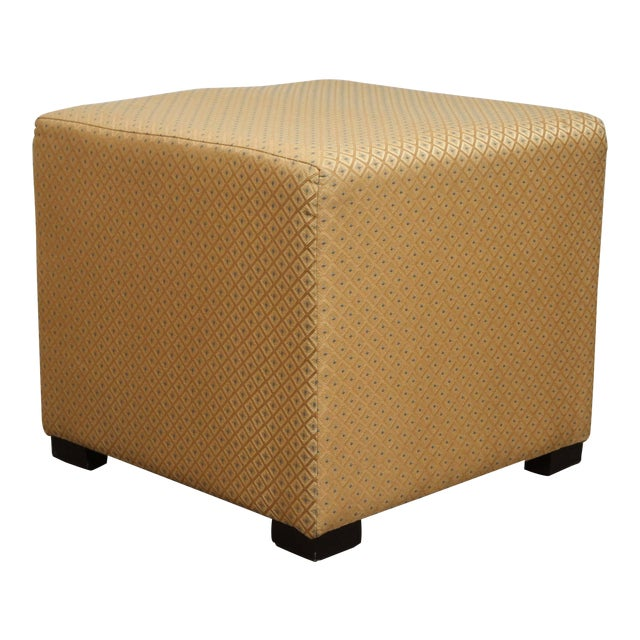Pair of gold cube upholstery ottomans, Poufs. Use them as extra seats, ottomans, stools. Light and easy to move around....
