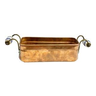 Vintage Copper Cachepot With Porcelain Handles For Sale