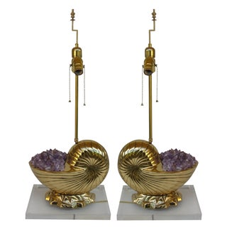 Vintage Brass Shell & Amethyst Lamps - A Pair For Sale