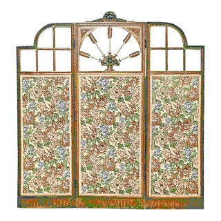19th Century 3-Panel Louis XVI French Gilt-wood Screen Room Divider For Sale