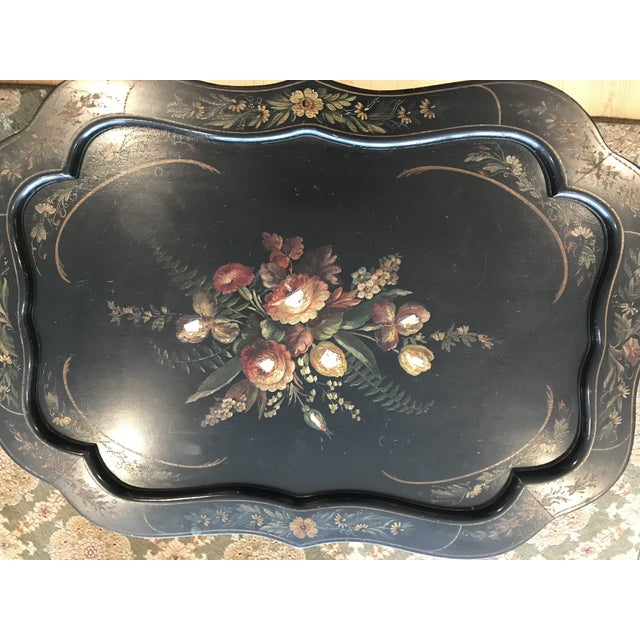 1960s 1960s Victorian Tole Tilt Top Table With Inlaid Mother of Pearl For Sale - Image 5 of 9