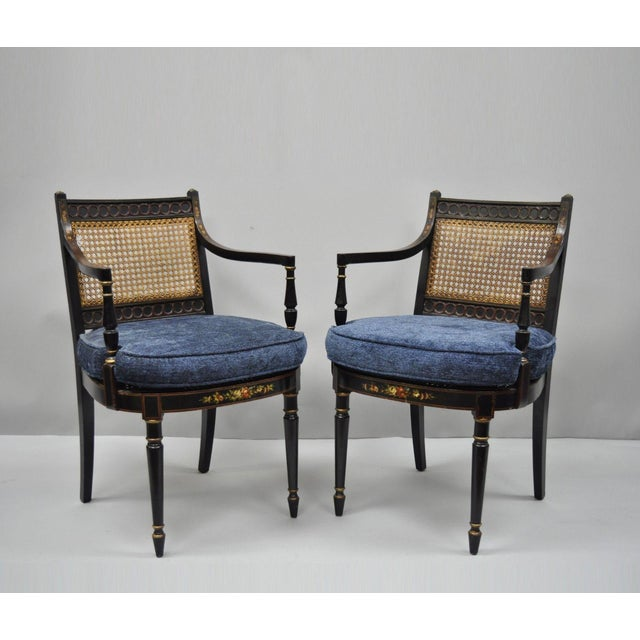 Early 21st Century Antique English Regency Style Black Lacquer Cane Armchairs- A Pair For Sale - Image 12 of 12