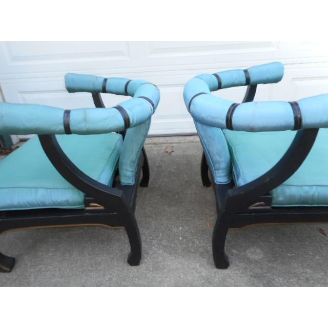 Asian James Mont Style Asian Lounge Chairs - A Pair For Sale - Image 3 of 11