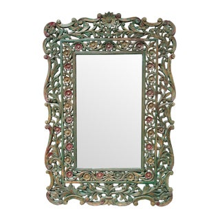 Carved Floral Wood Mirror For Sale