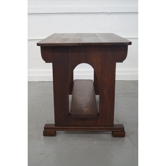 Antique Mission Oak Library Table - Image 3 of 10